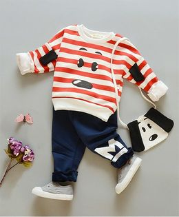 Pre Order - Awabox Doggy Print Striped Sweatshirt & Pants - Red