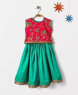 Mom's Girl Elephant Embroided Lehenga & Choli - Green