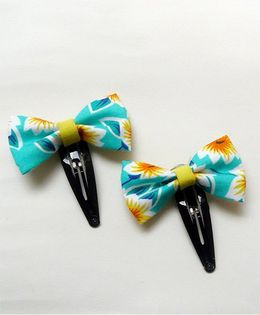 Pink Velvetz Floral Printed Bow Hair Clip - Green & Lime Yellow