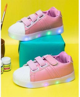 Little Maira Double Velcro Led Shoes - Pink
