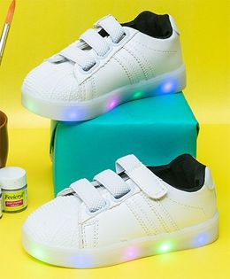 Little Maira Double Velcro Led Shoes - White