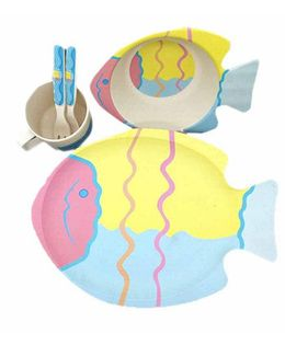 Ez Life Aqua Inspired Kids Dining Set Of 5 - Multicolour