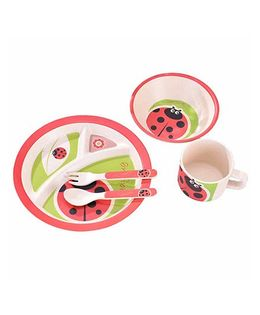 Ez Life Ladybird Round Dining Set 5 Pieces - Green & Red