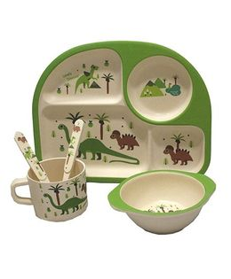 Ez Life Dinosaur Rectangle Dining Set 5 Pieces - Multicolor