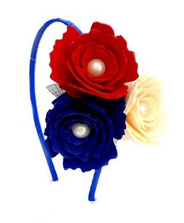 Reyas Accessories Floral Trio Hairband - Blue Red & White