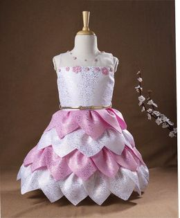 M'PRINCESS Leaf Patter Party Wear Dress With Belt - White & Pink