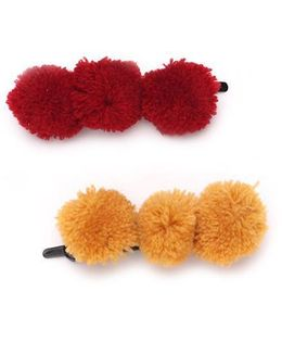 Funkrafts Set Of Pom Pom Hair Pins - Yellow & Red