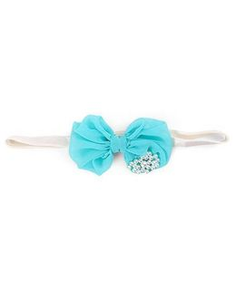 Funkrafts Bow & Pearl Applique Headband - Turquoise Green