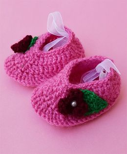Love Crochet Art Pear Studded Cute Booties - Pink