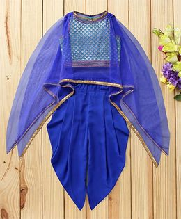 Twisha Cape Style Brocade Blouse With Dhoti - Blue