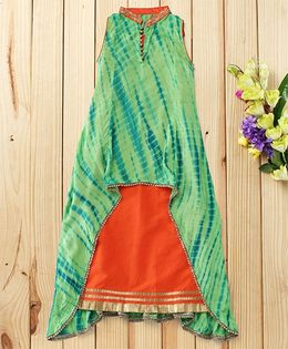 Twisha Trendy And Fashionable Two Piece Shibori Embriodered Gown - Green