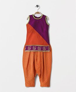 Twisha Kurta With With Foil Border & Salwar - Orange & Purple