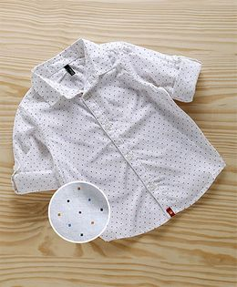 UCB Full Sleeves Shirt Dots Print - White