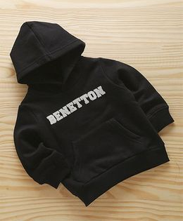UCB Full Sleeves Hooded Sweatshirt Benetton Design - Black