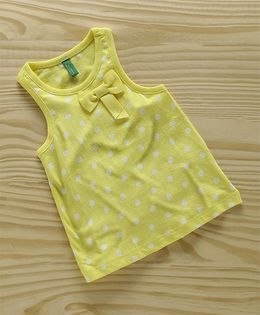 UCB Sleeveless Polka Dot Tee With Bow - Yellow