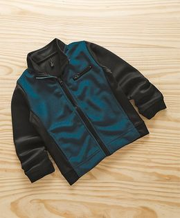 UCB Full Sleeves Zippered Sweat Jacket With High Neck - Blue