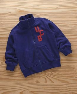 UCB Full Sleeves Sweat Jacket Logo Print - Royal Blue