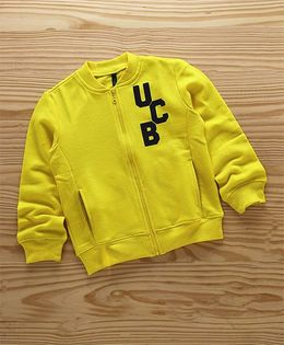 UCB Full Sleeves Sweat Jacket Logo Print With Pockets - Yellow