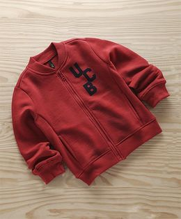 UCB Full Sleeves Sweat Jacket Logo Print With Pockets - Maroon