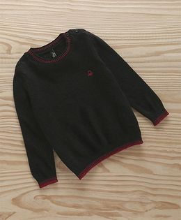 UCB Full Sleeves Solid Colour Sweater - Black