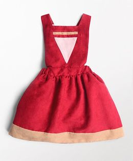 MilkTeeth Pinafore Triangle Design Dress - Maroon