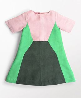MilkTeeth Trapeze Design Dress - Pink & Green