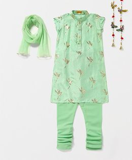 Shruti Jalan Bird Design Kurta Churidar Set - Green