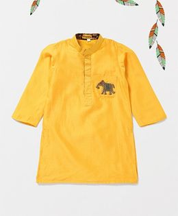 Shruti Jalan Elephant Applique Kurta - Yellow