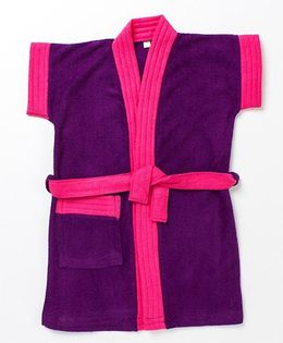 Pebbles Half Sleeves Bathrobe - Purple & Pink