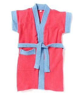 Pebbles Half Sleeves Bathrobe - Red & Blue