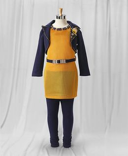 Eiora Party Wear Dress With Shrug & Leggings - Mustard & Navy