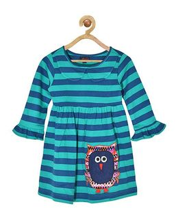 Pspeaches Striped Peter Pan Collar Dress With Owl Applique - Green & Blue