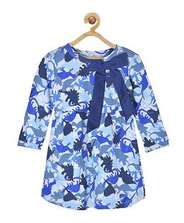 Pspeaches Dinosaur Print Full Sleeves Dress - Blue