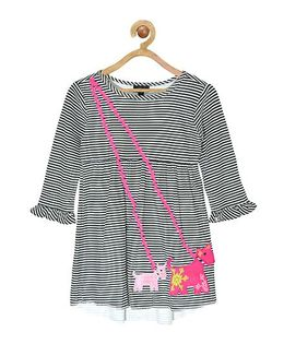 Pspeaches Striped Dress With Dog Design - Black & White