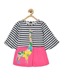 Pspeaches Striped Full Sleeves Dress With Giraffe Applique - Pink & Black