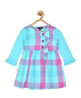 Pspeaches Checkered Full Sleeves Dress - Multicolor