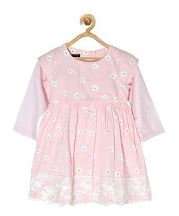 Pspeaches Floral Print Dress With Lace Design At Bottom - Baby Pink