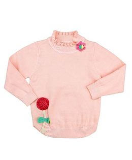 One Friday Flower Embriodery Sweater - Light Pink