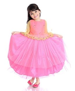 Little Pockets Store Embroidered Cape Gown - Pink
