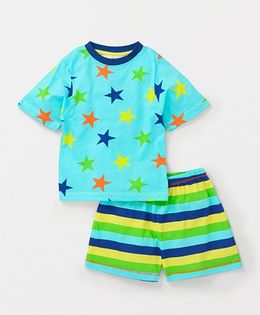 Tonyboy Star Printed T-Shirt With Shorts - Sky Blue