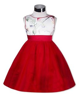 The KidShop Printed Party Dress With V Neck Behind - Red