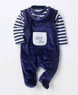 Wonderchild Striped Tee With Footie - Navy