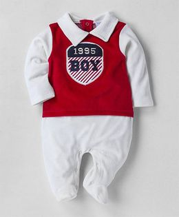 Wonderchild Full Sleeves Collared Footie - Red & White