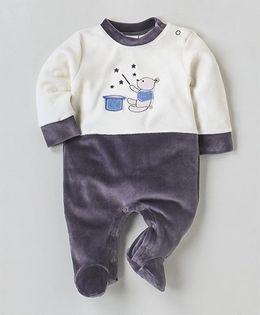 Wonderchild Teddy Applique Full Sleeves Footie - White & Dark Grey