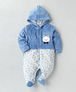 Wonderchild Teddy Applique Hooded Footie - Blue & White