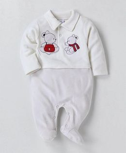 Wonderchild Teddy Applique Collared Footie - Cream
