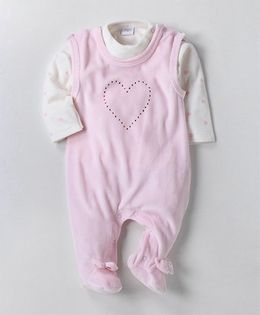 Wonderchild Full Sleeves Heart Print Tee With Footie - Pink & White