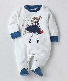 Wonderchild Doll Applique Footie - White & Navy