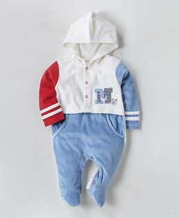 Wonderchild Hooded Footie With Pockets - White Blue & Red