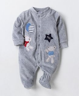 Wonderchild Teddy Applique Buttoned Footie - Grey